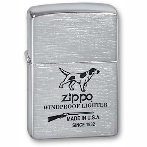 Зажигалка Hunting Tools с покр. Brushed Chrome серебристая Zippo 200 Hunting Tools GS