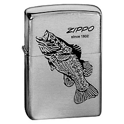Зажигалка Black Bass с покр. Brushed Chrome серебристая Zippo 200 BLACK BASS GS